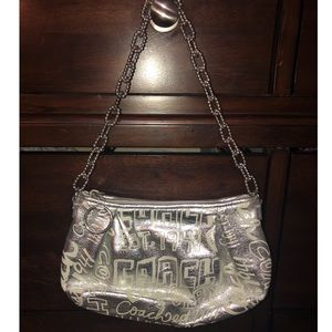 Coach Poppy Silver demi handbag